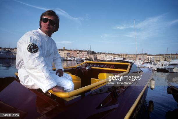 Didier Pironi, Saint Tropez, Saint Tropez port, Saint-Tropez, France, July 21, 1985. Didier Pironi with his Lamborghini powered Abbate boat in the...