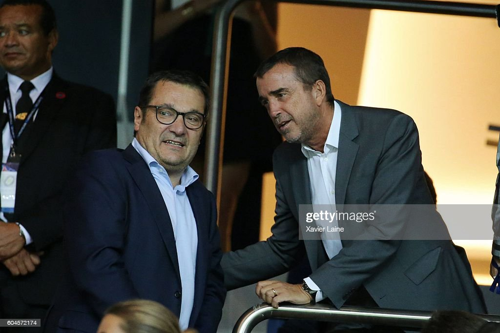 Didier Quillot and Arnaud Lagardere attend the UEFA Champions League group A between Paris Saint-Germain and Arsenal FC at Parc Des Princes on september 13, 2016 in Paris, France.