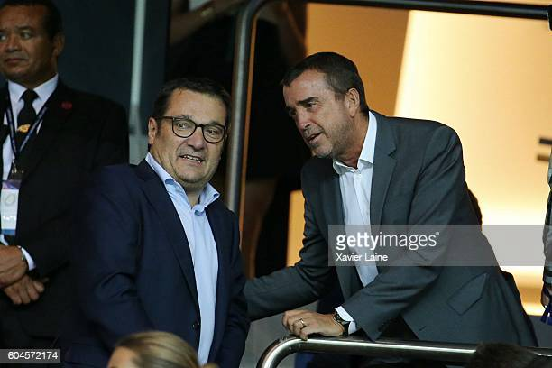 Didier Quillot and Arnaud Lagardere attend the UEFA Champions League group A between Paris SaintGermain and Arsenal FC at Parc Des Princes on...