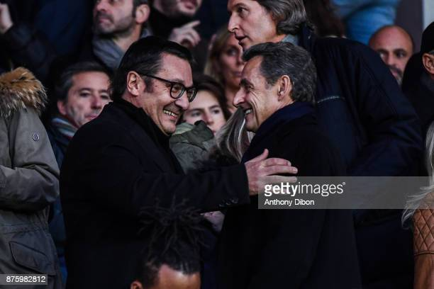 Didier Quillot executive general manager of LFP and Former president Nicolas Sarkozy during the Ligue 1 match between Paris Saint Germain and Nantes...