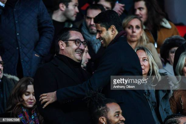 Didier Quillot executive general manager of LFP and President of PSG Nasser Al Khelaifi during the Ligue 1 match between Paris Saint Germain and...