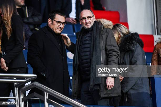 Didier Quillot executive general manager of LFP and Thierry Cheleman Sport director of Canal during the Ligue 1 match between Paris Saint Germain and...