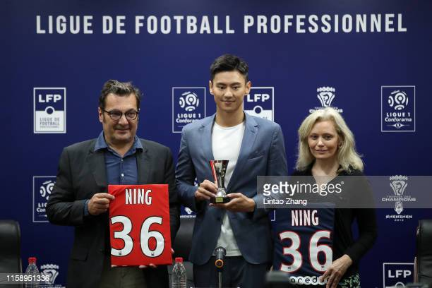 Didier Quillot, General Executive Manager of LFP, French League Promotion Ambassador Ning Zetao and President of French Professional Football League...