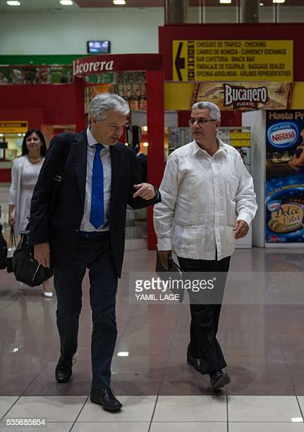 Didier Reynders Deputy Prime Minister of Belgium and Minister of Foreign Affairs and European Affairs is received by Cuban director for Europe and...