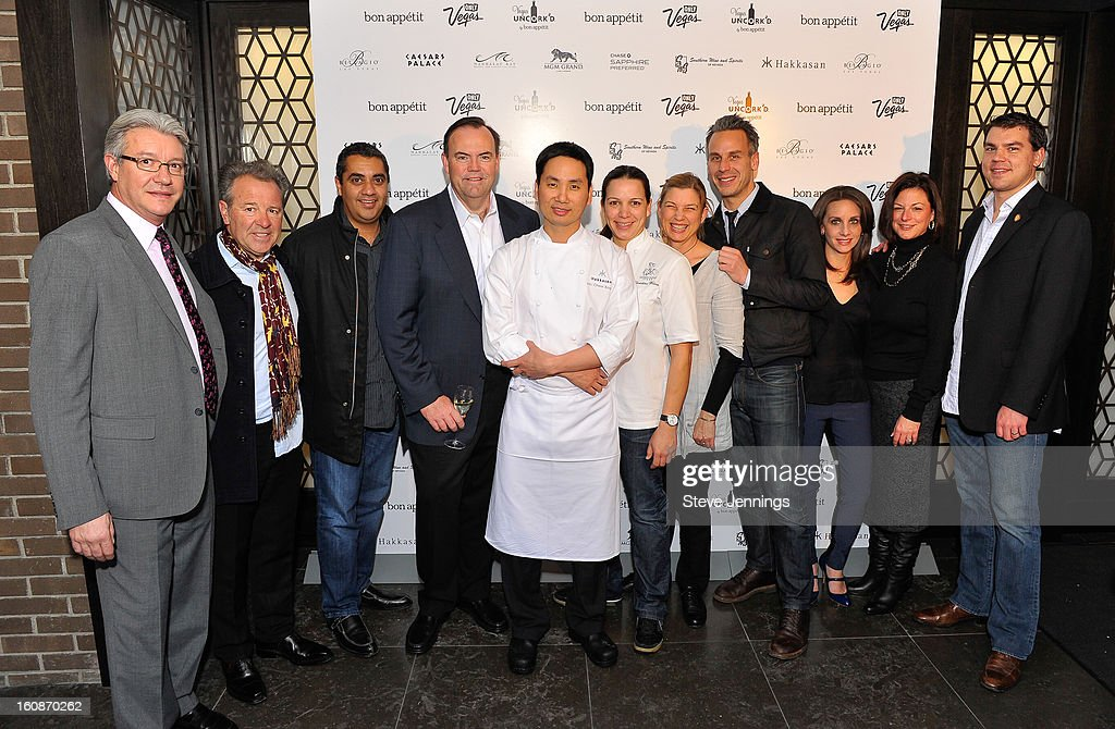 Didier Souillat, Julian Serrano, Michael Mina, Charlie Palmer, Ho Chee Boon, Christina Wilson, Mary Sue Miliken, Adam Rapoport, Pamela Drucker Mann, Cathy Tull and Jason Smith (L-R) attend the Exclusive Preview of the 2013 Vegas Uncork'd By Bon Appetit at One Kearny Street on February 6, 2013 in San Francisco, California.
