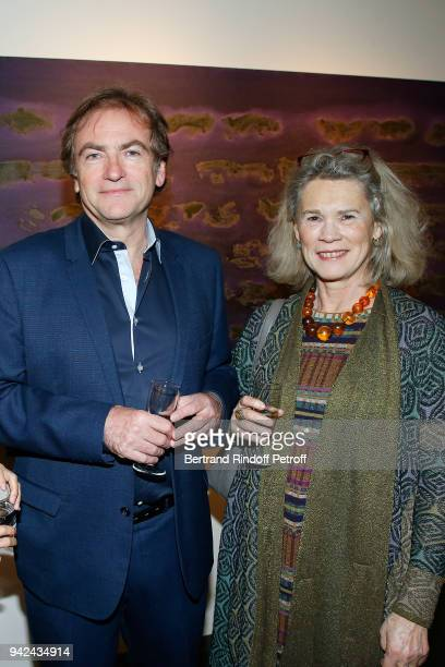 Didier van Cauwelaert and Valerie Laffont attend Sans Titre Valerie Gans's Book Signing during Les Pionnieres Exhibition at Galerie PierreAlain...