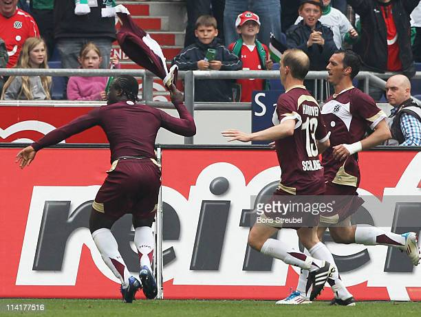 Didier Ya Konan of Hannover celebrates his teams 3rd goal during the Bundesliga match between Hannover 96 and 1 FC Nuernberg at AWD Arena on May 14...