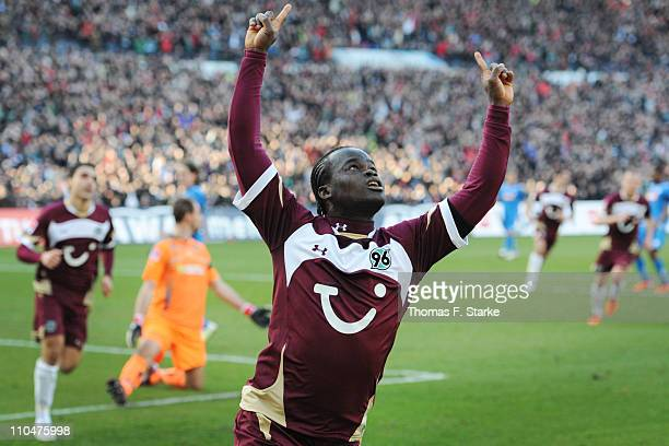 Didier Ya Konan of Hannover celebrates scoring his teams first goal during the Bundesliga match between Hannover 96 and 1899 Hoffenheim at AWD Arena...