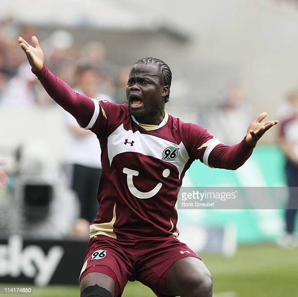 Didier Ya Konan of Hannover gestures during the Bundesliga match between Hannover 96 and 1 FC Nuernberg at AWD Arena on May 14 2011 in Hanover Germany
