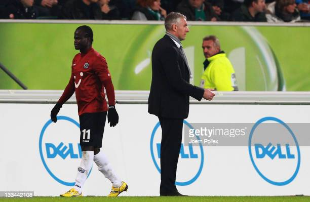 Didier Ya Konan of Hannover is seen after his red card during the Bundesliga match between VfL Wolfsburg and Hannover 96 at Volkswagen Arena on...