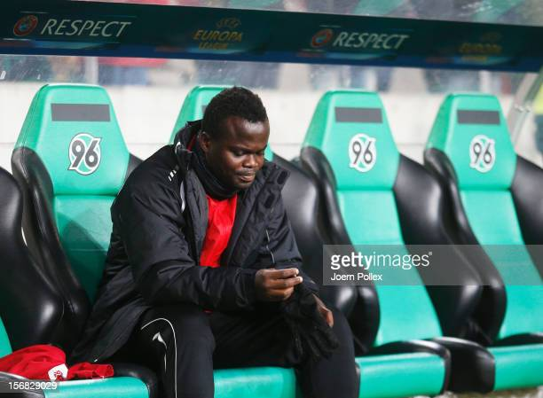 Didier Ya Konan of Hannover is seen on the bench prior to the UEFA Europa League Group L match between Hannover 96 and FC Twente at AWD Arena on...