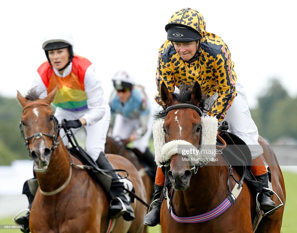 Dido Harding (r), Chief Executive of TalkTalk, takes part in the Magnolia Cup charity race on Ladies Day of the Qatar Goodwood Festival at Goodwood Racecourse on July 28, 2016 in Chichester, England.