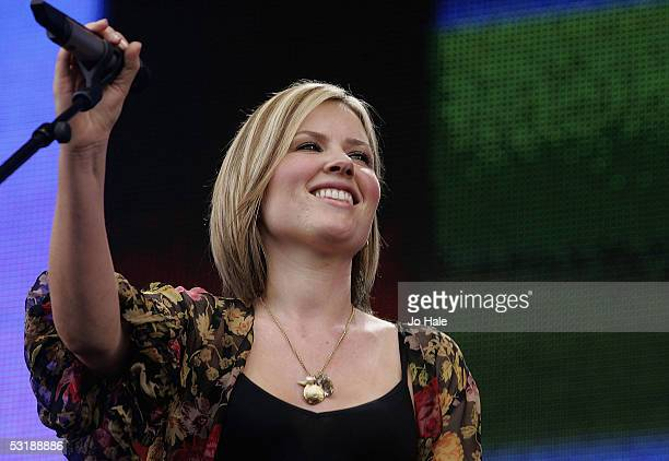 Dido performs on stage at Live 8 London in Hyde Park on July 2 2005 in London England The free concert is one of ten simultaneous international gigs...