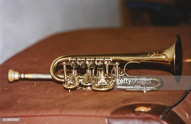 Die A-Bach-Trompete des Musikers Ludwig Güttler. Blasinstrument / Blechblasinstrument .