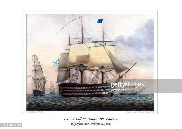 Die Abbildung zeigt ein russisches Linienschiff ersten Ranges von 120 Kanonen. Der Rang bemaß sich an der Anzahl der Kanonen. Da Linienschiffe die...