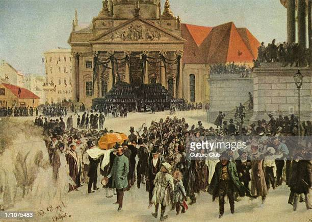 'Die Aufbahrung der Märzgefallenen' painting by Adolph von Menzel Coffins of those citizens who died during the March Revolutions of 1848 lined up on...