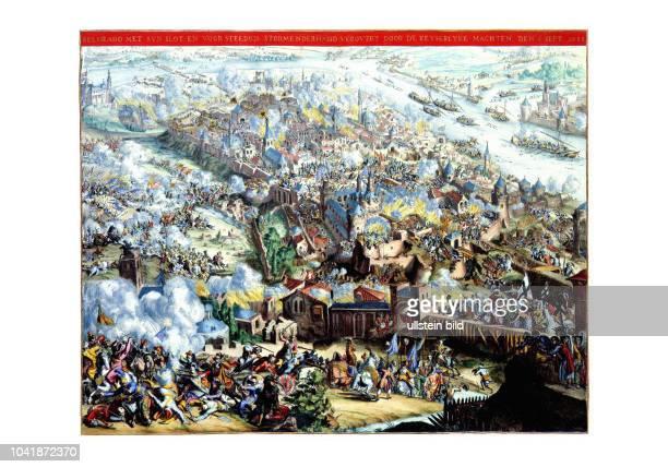 Die Belagerung der Stadt und Festung Belgrad 1688 Ansicht von Romeyn de Hooghe Amsterdam 1690 Die Belagerung von Belgrad im Jahr 1688 war Teil des...