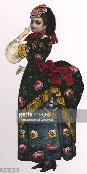 A die cut of a woman wearing a colorful dress with a bustle appears in lithographic profile in this print c1870