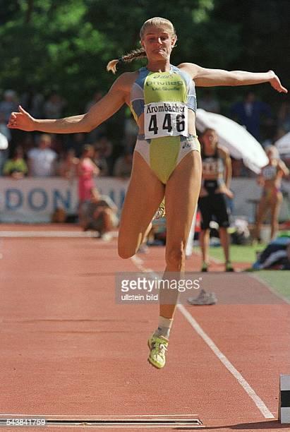 Die deutsche Mehrkämpferin Karin Ertl beim Weitsprung während des 12 Internationalen LeichtathletikMeetings in Ingolstadt