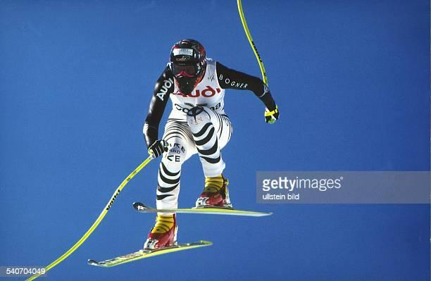 Die deutsche Skiläuferin Katja Seizinger in Cortina d'Ampezzo Aufgenommen um 1998