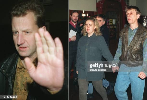 Die ehemaligen DDRGrenzposten Olaf Nelde und Hartmut Britzke der von seiner Frau begleitet wird betreten am das Kriminalgericht BerlinMoabit Die...