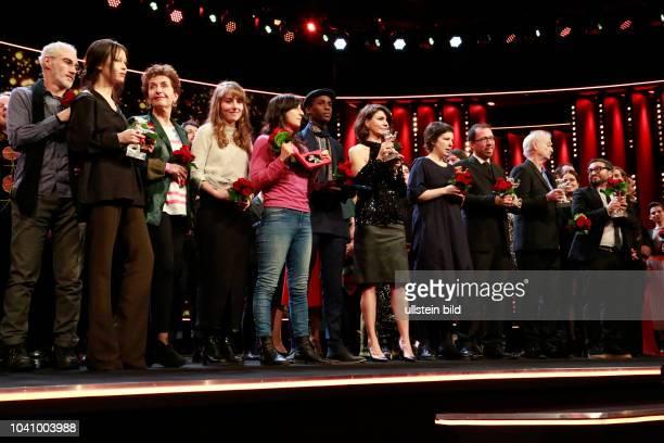 Die Gewinner der Bärenverleihung der68. Berlinale auf der Bühne der Preisverleihung der 68. Berlinale am in Berlin im Berlinale Palast