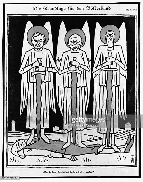 """Die Grundlage fur den Volkerbund."" This political cartoon depicts Lloyd George, Georges Clemenceau and Woodrow Wilson standing on a body..."
