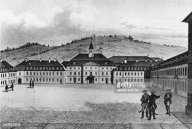 Die Hohe Karlsschule in Stuttgart zur Zeit Friedrich Schillers. Schiller besuchte die Erziehungsanstalt 1773-1780Aussenansicht undatiert