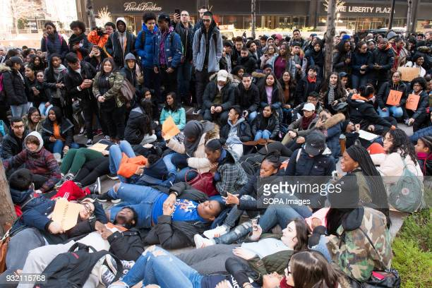 A die in protest during the National School Walkout a 17 minute walkout by students in honor of the 17 people who died one month ago in the shooting...