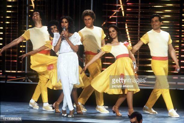 Die israelische Gruppe Ofra Haza beim Europäischen Schlagerwettbewerb Grand Prix d'Eurovision de la Chanson am in München. Sie belegte den zweiten...