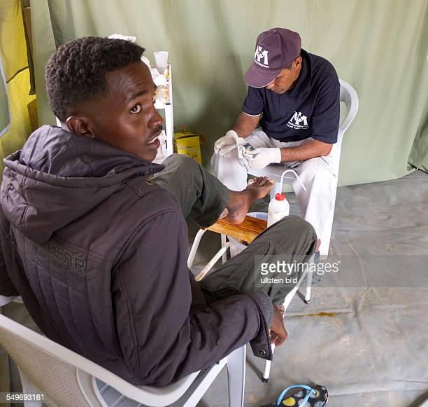 die Krankenstation für die im Camp lebenden Flüchtlingen Hier werden die Patienten aufgenommen