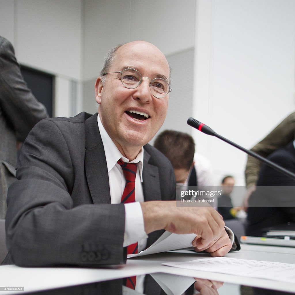 Die Linke Bundestag Faction Leader Gregor Gysi laughs before a Meeting of Die Linke Bundestag Faction at Reichstags Building on February 18, 2014 in Berlin, Germany.