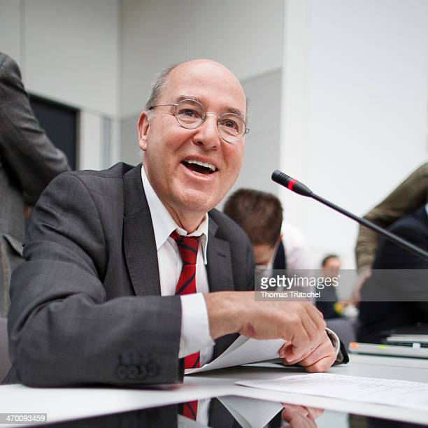 Die Linke Bundestag Faction Leader Gregor Gysi laughs before a Meeting of Die Linke Bundestag Faction at Reichstags Building on February 18 2014 in...