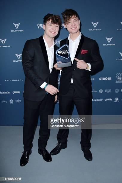 Die Lochis attend the 99Fire-Films Award at Umspannwerk Kreuzberg on February 14, 2019 in Berlin, Germany.