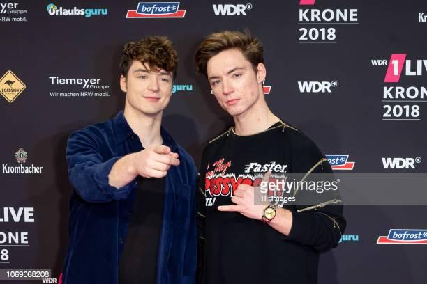 Die Lochis, Roman Lochmann and Heiko Lochmann attend the 1Live Krone radio award at Jahrhunderthalle on December 6, 2018 in Bochum, Germany.