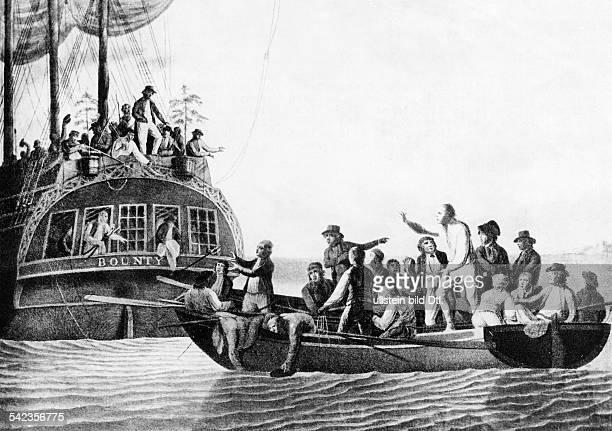 Die Meuterei auf der Bounty die Mannschaft der Bounty setzt Kapitän Bligh und 18 weitere Matrosen auf einem Beiboot aus Tuschzeichnung von Robert...