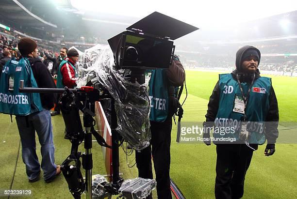 Die neu 3 D Kamera vor dem Bundesligaspiel zwischen SV Werder Bremen Bayer Leverkusen im Weser Stadion am 27Februar 2011 in Bremen Deutschland