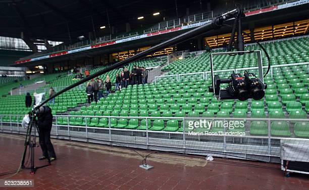 Die neu hinter Tor 3 D Kamera vor dem Bundesligaspiel zwischen SV Werder Bremen Bayer Leverkusen im Weser Stadion am 27Februar 2011 in Bremen...