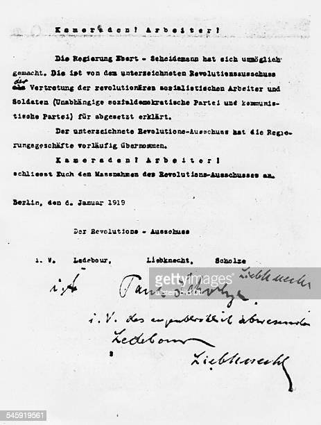Die Regierung Friedrich Ebert / Philipp Scheidemann wird von Karl Liebknecht Paul Scholze und Georg Ledebour für abgesetzt erklärt Das Dokument...