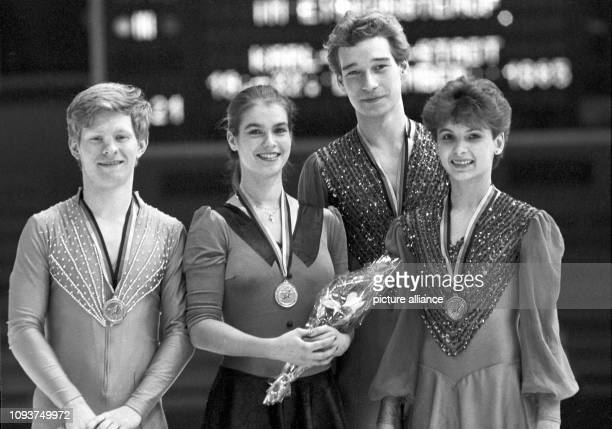 Die Titelträger bei den DDRMeisterschaften 1985 im Eiskunstlauf Falko Kirsten Olympiasiegerin Welt und Europameisterin Katarina Witt Katrin...