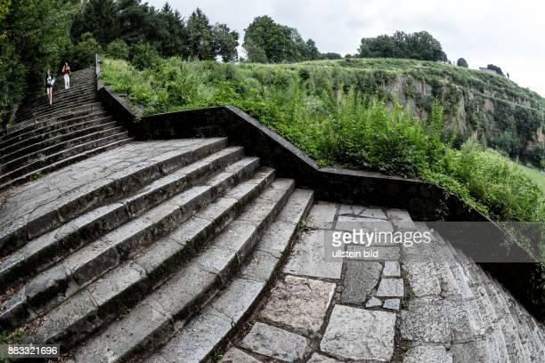Die Todesstiege zum Steinbruch im Konzentrationslager Mauthausen in Österreich KZ der Stufe III von 1938 bis 1945