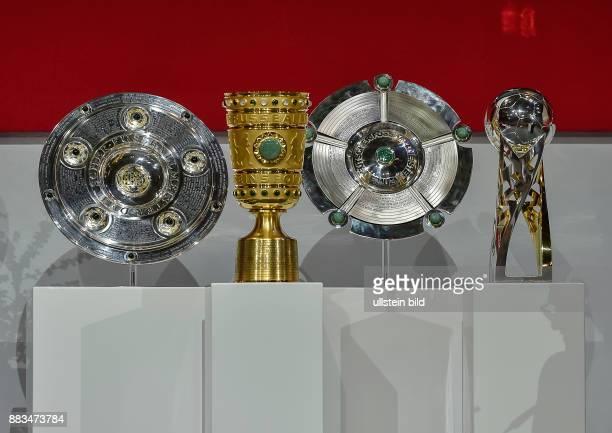 Die Trophaeen der letzen Saison L-R Deutsche Meisterschale Maenner, DFB Pokal Maenner, Deutsche Meisterschaft Frauen, und DFB Supercup Maenner...