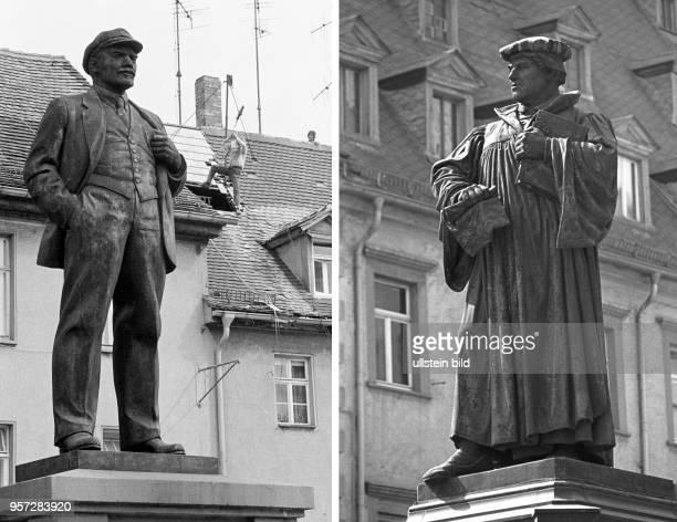 Die zweiteilige Bildkombo zeigt das Lenindenkmal auf dem August-Bebel-Plan in der Lutherstadt Eisleben , aufgenommen am . Es war das erste Denkmal zu...