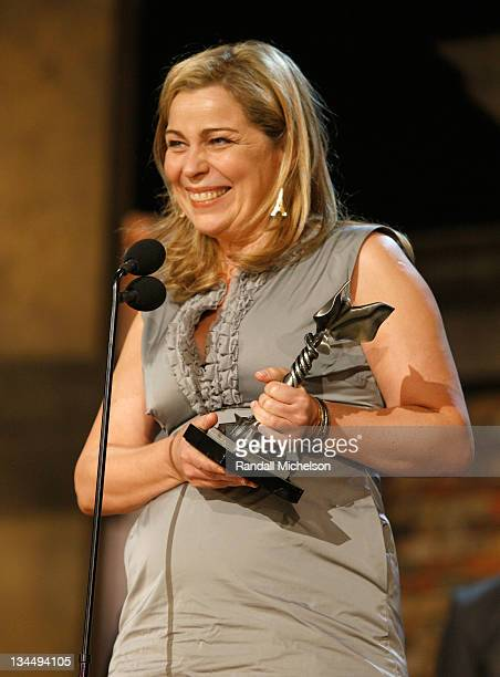 Diector Lone Scherfig accepts her award onstage at the 25th Film Independent Spirit Awards held at Nokia Theatre LA Live on March 5 2010 in Los...
