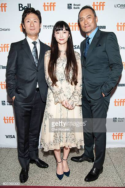 Diector Sangil Lee Actress Aoi Miyazaki and Actor Ken Watanabe attend the premiere of 'Rage' during the 2016 Toronto International Film Festival at...