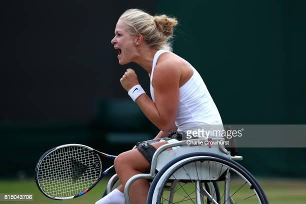 Diede De Groot of Holland celebrates winning her women's singles wheel chair tennis final against Sabine Ellerbrock of Germany on day twelve of the...