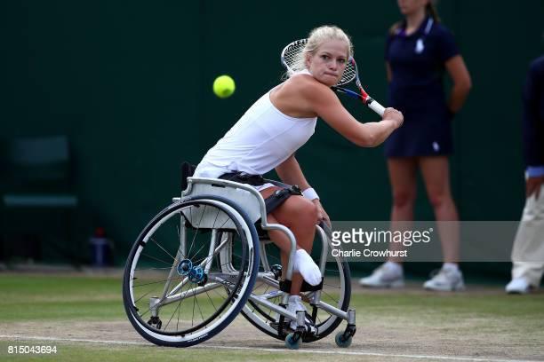Diede De Groot of Holland in action during her women's singles wheel chair tennis final against Sabine Ellerbrock of Germany on day twelve of the...