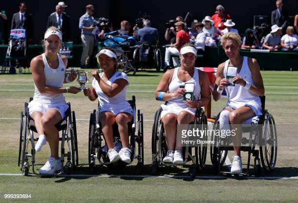 Diede De Groot of The Netherlands and Yui Kamiji of Japan after winning the womens doubles wheelchair final against Sabine Ellerbrock of Germany and...