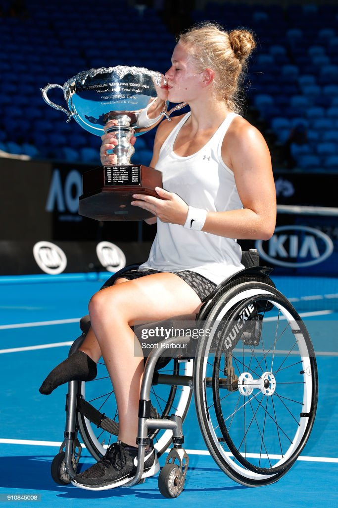 Diede De Groot of the Netherlands poses with the championship trophy after winning the women's wheelchair singles final against Yui Kamiji of Japan during the Australian Open 2018 Wheelchair Championships at Melbourne Park on January 27, 2018 in Melbourne, Australia.