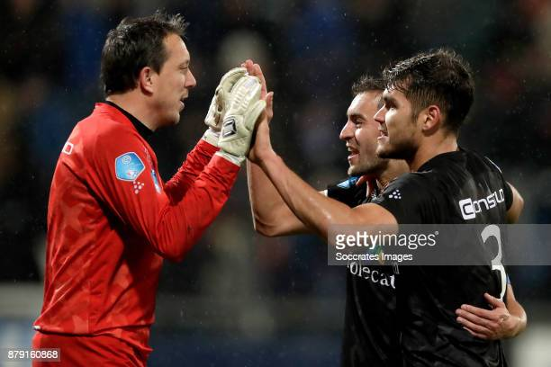 Diederik Boer of PEC Zwolle Bram van Polen of PEC Zwolle Nicolas Freire of PEC Zwolle celebrate the victory during the Dutch Eredivisie match between...